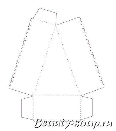 Выкройка коробочки из бумаги в форме тортика