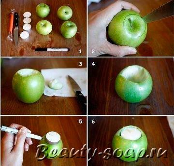 Как подготовить яблоко для свечи